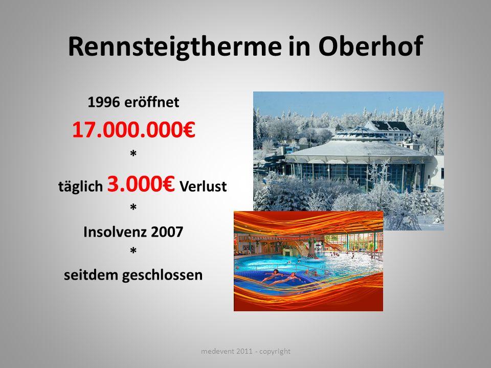 Rennsteigtherme in Oberhof 1996 eröffnet 17.000.000 * täglich 3.000 Verlust * Insolvenz 2007 * seitdem geschlossen medevent 2011 - copyright