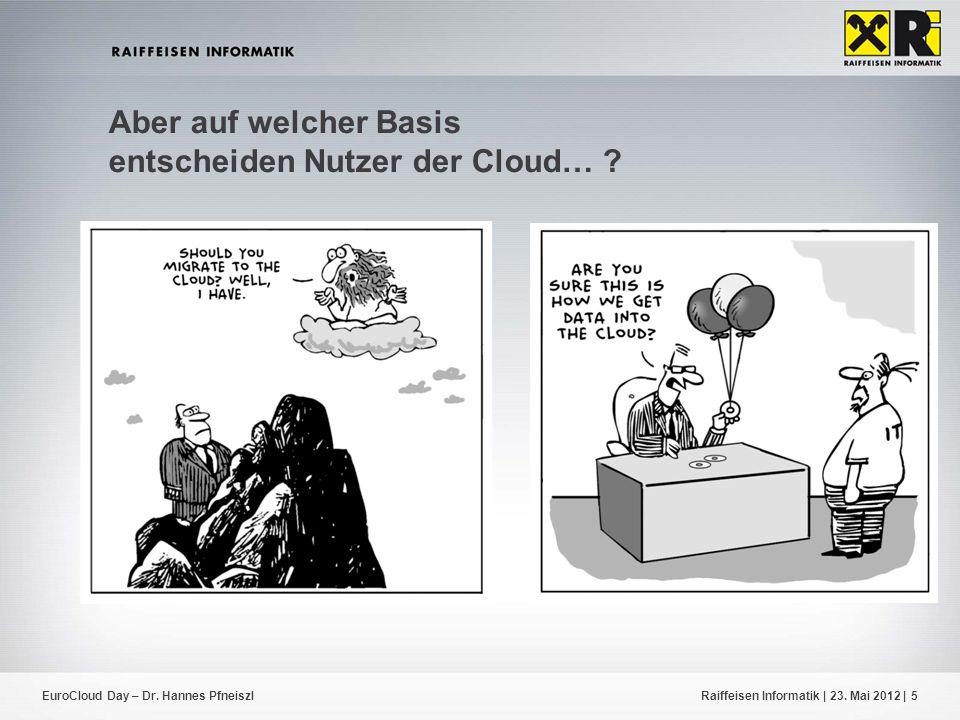 EuroCloud Day – Dr. Hannes PfneiszlRaiffeisen Informatik | 23. Mai 2012 |5 Aber auf welcher Basis entscheiden Nutzer der Cloud… ?