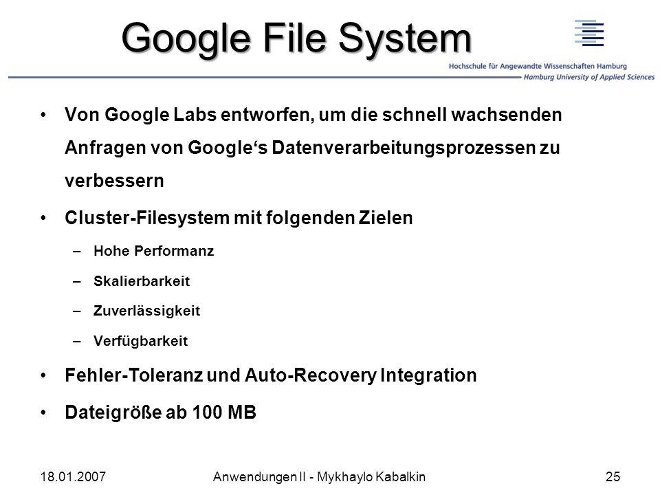 Google File System Von Google Labs entworfen, um die schnell wachsenden Anfragen von Googles Datenverarbeitungsprozessen zu verbessern Cluster-Filesys