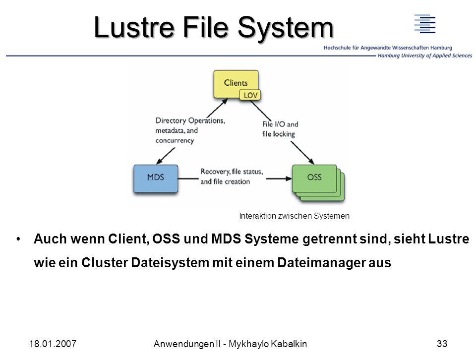 Lustre File System Auch wenn Client, OSS und MDS Systeme getrennt sind, sieht Lustre wie ein Cluster Dateisystem mit einem Dateimanager aus 18.01.2007