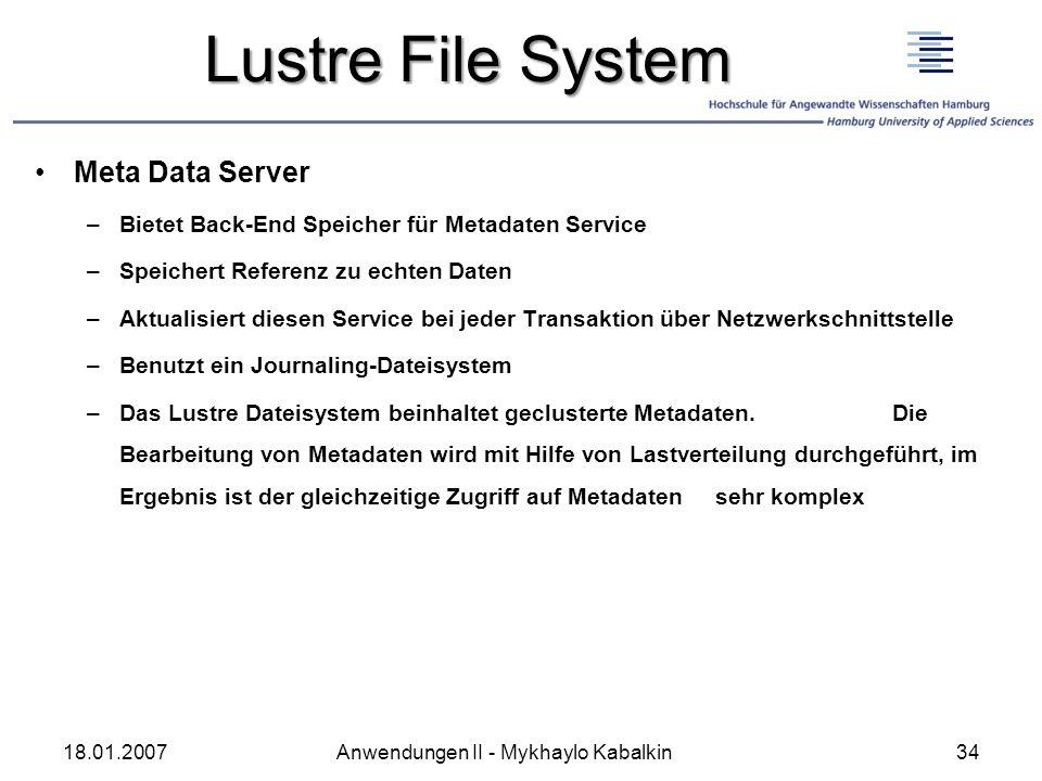 Lustre File System Meta Data Server –Bietet Back-End Speicher für Metadaten Service –Speichert Referenz zu echten Daten –Aktualisiert diesen Service b