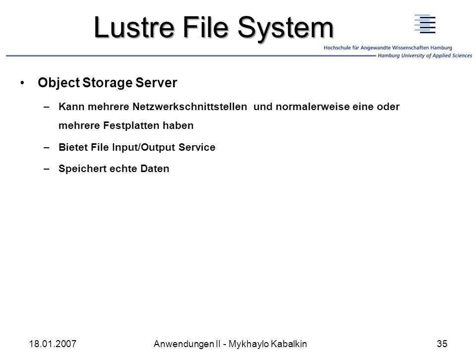 Lustre File System Object Storage Server –Kann mehrere Netzwerkschnittstellen und normalerweise eine oder mehrere Festplatten haben –Bietet File Input