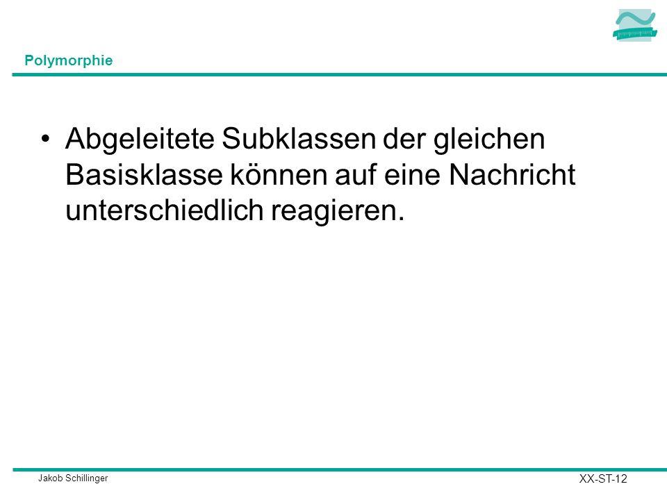 Jakob Schillinger Polymorphie Abgeleitete Subklassen der gleichen Basisklasse können auf eine Nachricht unterschiedlich reagieren. XX-ST-12
