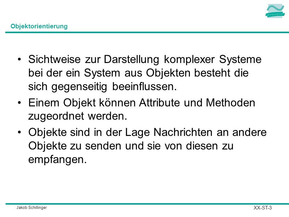 Jakob Schillinger Objektorientierung Sichtweise zur Darstellung komplexer Systeme bei der ein System aus Objekten besteht die sich gegenseitig beeinfl