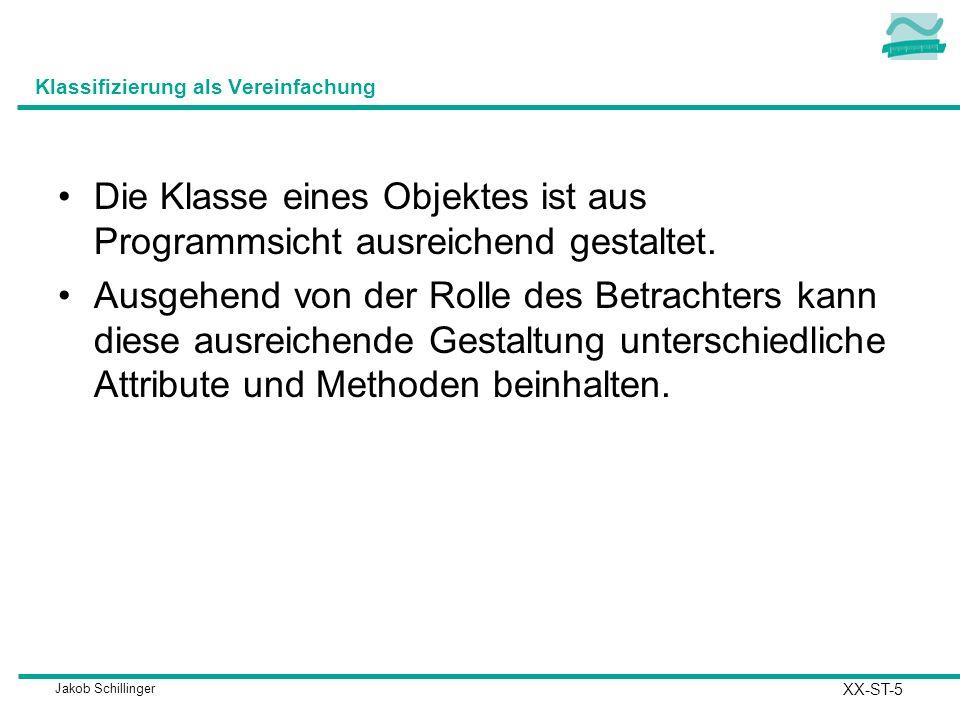 Jakob Schillinger Klassifizierung als Vereinfachung Die Klasse eines Objektes ist aus Programmsicht ausreichend gestaltet. Ausgehend von der Rolle des
