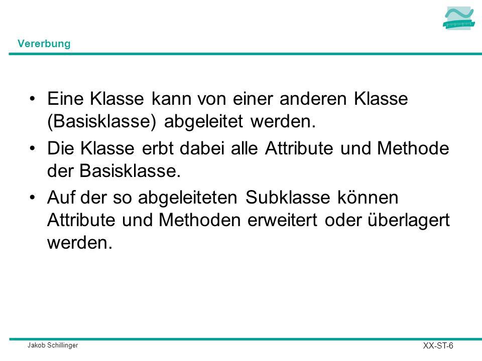 Jakob Schillinger Vererbung Eine Klasse kann von einer anderen Klasse (Basisklasse) abgeleitet werden. Die Klasse erbt dabei alle Attribute und Method
