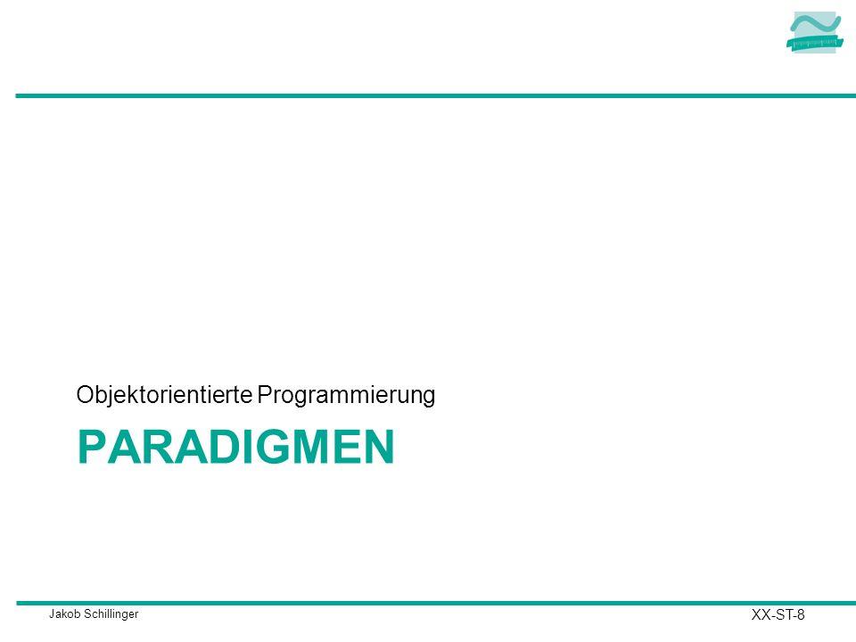 Jakob Schillinger PARADIGMEN Objektorientierte Programmierung XX-ST-8