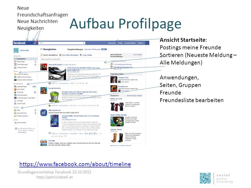 Aufbau Profilpage https://www.facebook.com/about/timeline Ansicht Startseite: Postings meine Freunde Sortieren (Neueste Meldung – Alle Meldungen) Anwe
