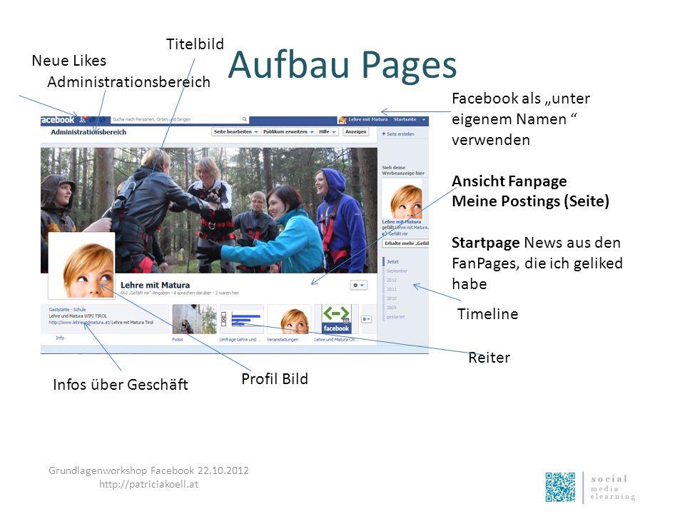 Aufbau Pages Facebook als unter eigenem Namen verwenden Ansicht Fanpage Meine Postings (Seite) Startpage News aus den FanPages, die ich geliked habe T