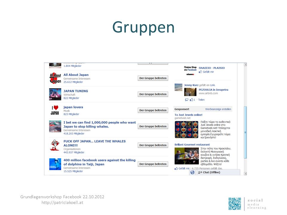 Gruppen Grundlagenworkshop Facebook 22.10.2012 http://patriciakoell.at