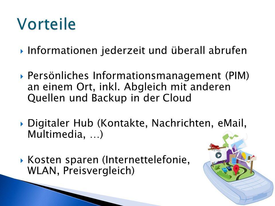 Informationen jederzeit und überall abrufen Persönliches Informationsmanagement (PIM) an einem Ort, inkl. Abgleich mit anderen Quellen und Backup in d