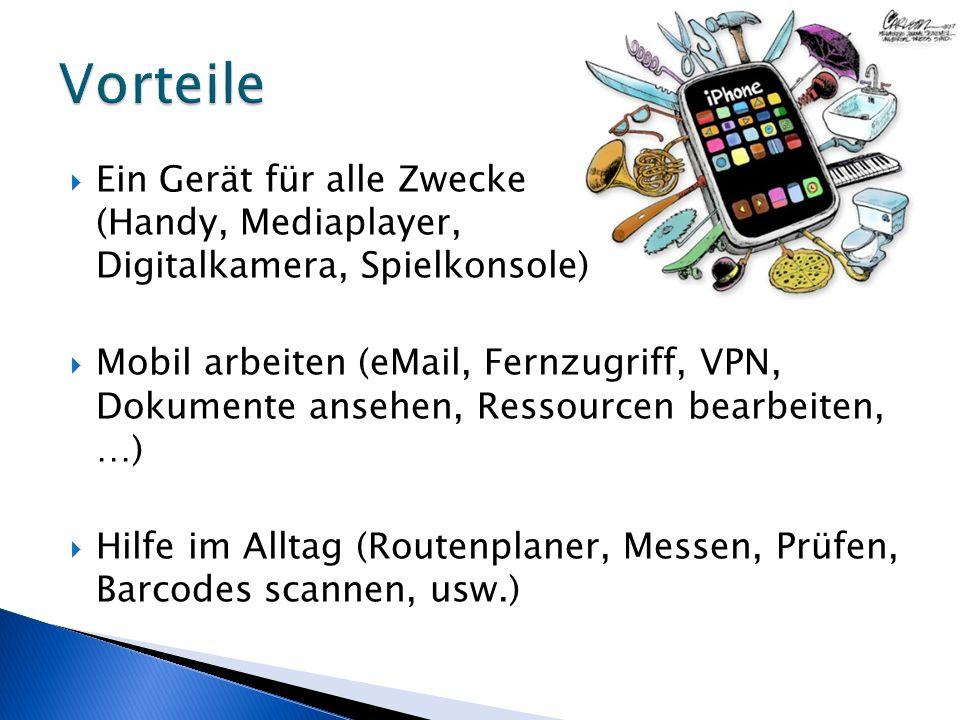 Ein Gerät für alle Zwecke (Handy, Mediaplayer, Digitalkamera, Spielkonsole) Mobil arbeiten (eMail, Fernzugriff, VPN, Dokumente ansehen, Ressourcen bearbeiten, …) Hilfe im Alltag (Routenplaner, Messen, Prüfen, Barcodes scannen, usw.)