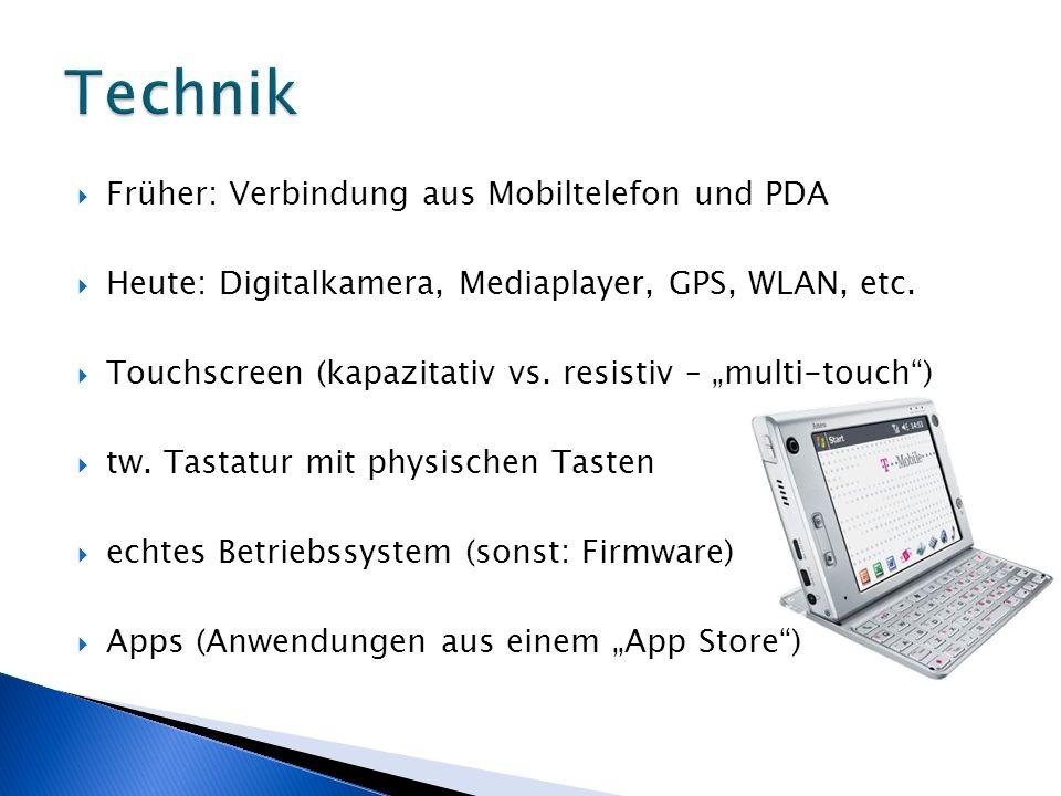 Früher: Verbindung aus Mobiltelefon und PDA Heute: Digitalkamera, Mediaplayer, GPS, WLAN, etc. Touchscreen (kapazitativ vs. resistiv – multi-touch) tw