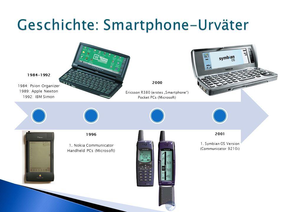 2002 SonyEricsson P800 Handspring Treo 180 BlackBerry Pocket PC Phone 2005 Nokia N-Serie (Spielehandy) Maemo (Nokia Internet Tablets) Windows Mobile 5.0 2006 OLPC XO-1, Intel Classmate PC (Laptops für Kinder in Entwicklungsländern)