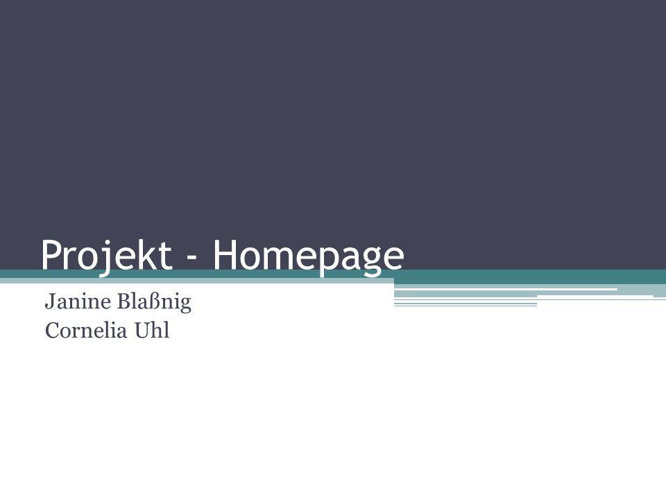 Projekt - Homepage Janine Blaßnig Cornelia Uhl