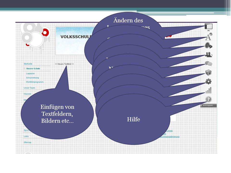 Ändern des Layouts (eigenes oder vorgegebenes Layout auswählen) Schriftformat, Hintergrundmuster, Hintergrundbild ändern Blogs für Website einrichten