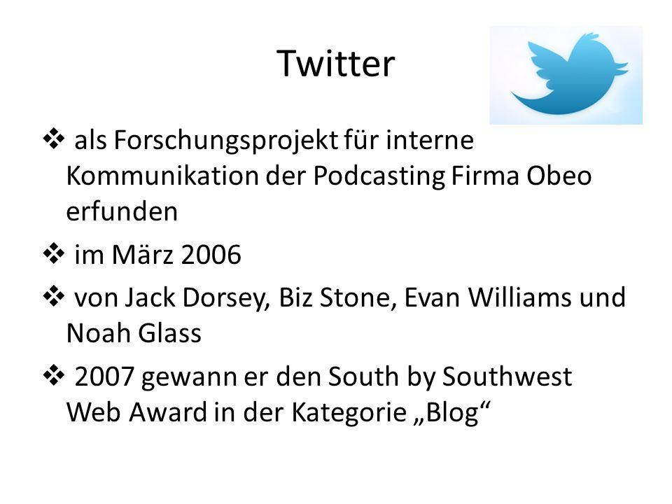 Twitter als Forschungsprojekt für interne Kommunikation der Podcasting Firma Obeo erfunden im März 2006 von Jack Dorsey, Biz Stone, Evan Williams und Noah Glass 2007 gewann er den South by Southwest Web Award in der Kategorie Blog