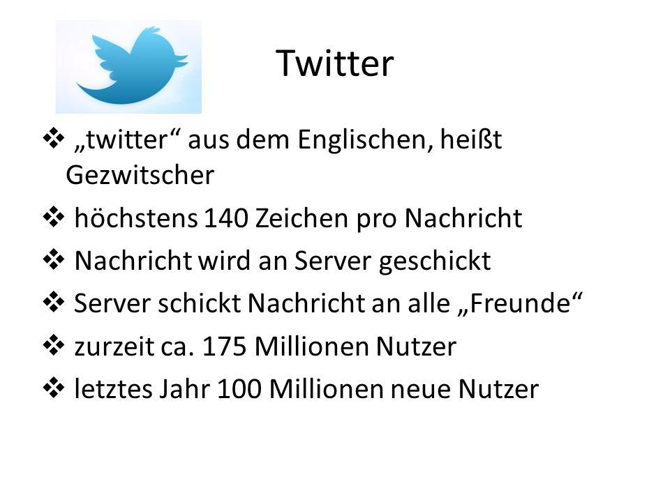 Twitter twitter aus dem Englischen, heißt Gezwitscher höchstens 140 Zeichen pro Nachricht Nachricht wird an Server geschickt Server schickt Nachricht an alle Freunde zurzeit ca.