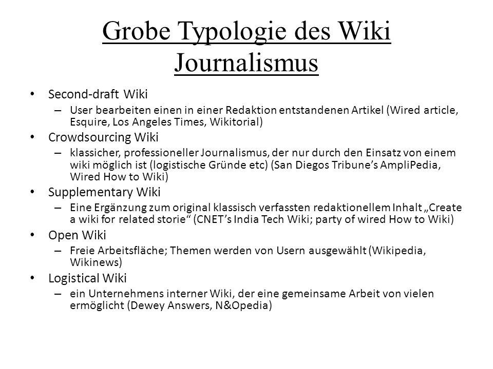 Grobe Typologie des Wiki Journalismus Second-draft Wiki – User bearbeiten einen in einer Redaktion entstandenen Artikel (Wired article, Esquire, Los A