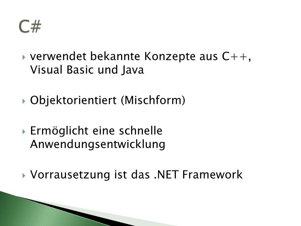 verwendet bekannte Konzepte aus C++, Visual Basic und Java Objektorientiert (Mischform) Ermöglicht eine schnelle Anwendungsentwicklung Vorrausetzung ist das.NET Framework