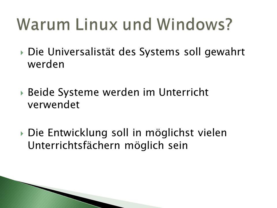 Die Universalistät des Systems soll gewahrt werden Beide Systeme werden im Unterricht verwendet Die Entwicklung soll in möglichst vielen Unterrichtsfächern möglich sein
