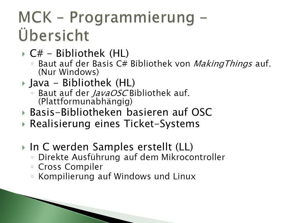 C# - Bibliothek (HL) Baut auf der Basis C# Bibliothek von MakingThings auf.