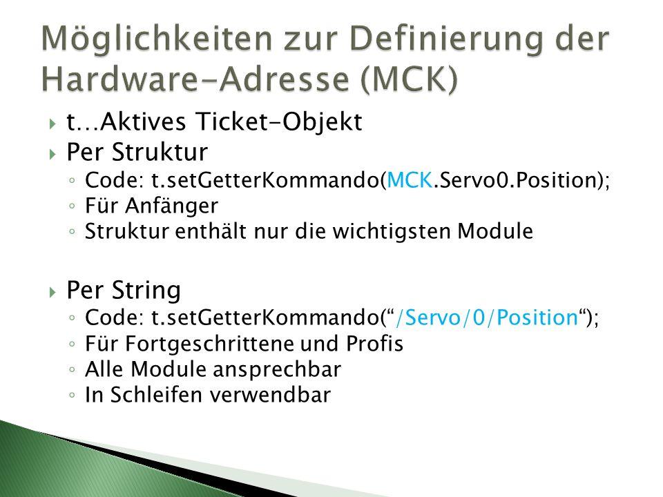 t…Aktives Ticket-Objekt Per Struktur Code: t.setGetterKommando(MCK.Servo0.Position); Für Anfänger Struktur enthält nur die wichtigsten Module Per String Code: t.setGetterKommando(/Servo/0/Position); Für Fortgeschrittene und Profis Alle Module ansprechbar In Schleifen verwendbar