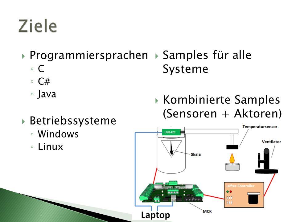 Programmiersprachen C C# Java Betriebssysteme Windows Linux Samples für alle Systeme Kombinierte Samples (Sensoren + Aktoren)