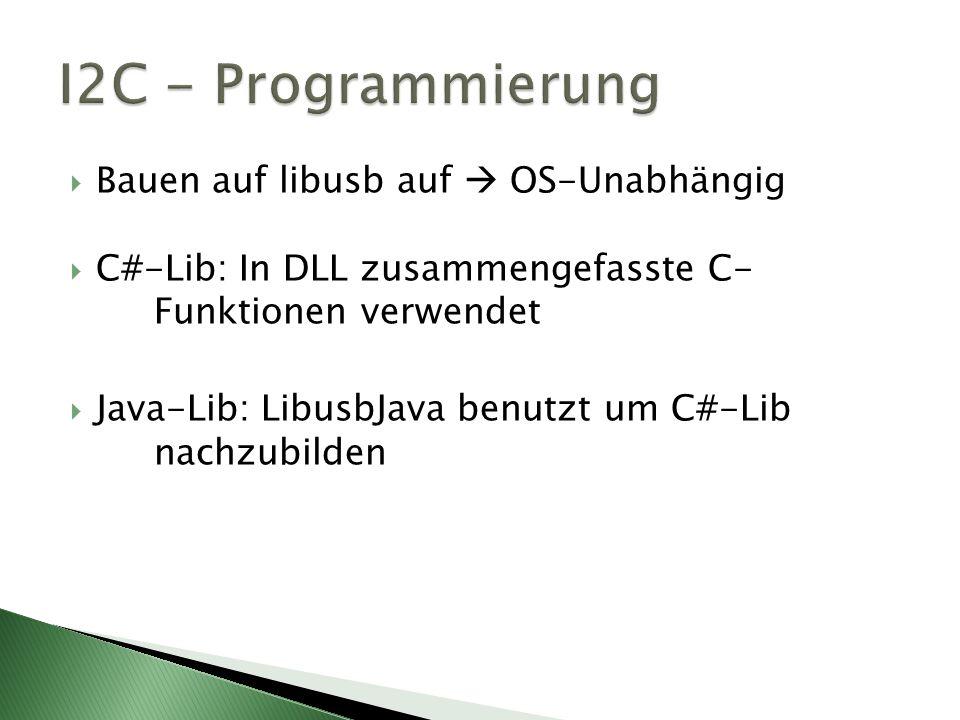 Bauen auf libusb auf OS-Unabhängig C#-Lib: In DLL zusammengefasste C- Funktionen verwendet Java-Lib: LibusbJava benutzt um C#-Lib nachzubilden
