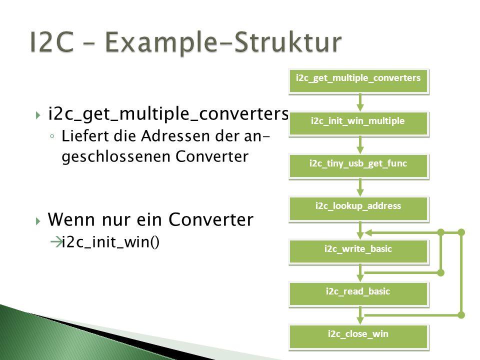 i2c_get_multiple_converters Liefert die Adressen der an- geschlossenen Converter Wenn nur ein Converter i2c_init_win() i2c_get_multiple_converters i2c_init_win_multiple i2c_tiny_usb_get_func i2c_lookup_address i2c_write_basic i2c_read_basic i2c_close_win
