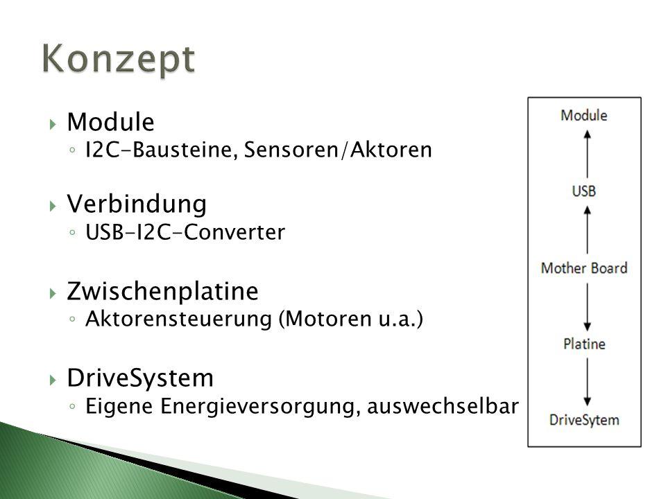 Module I2C-Bausteine, Sensoren/Aktoren Verbindung USB-I2C-Converter Zwischenplatine Aktorensteuerung (Motoren u.a.) DriveSystem Eigene Energieversorgung, auswechselbar