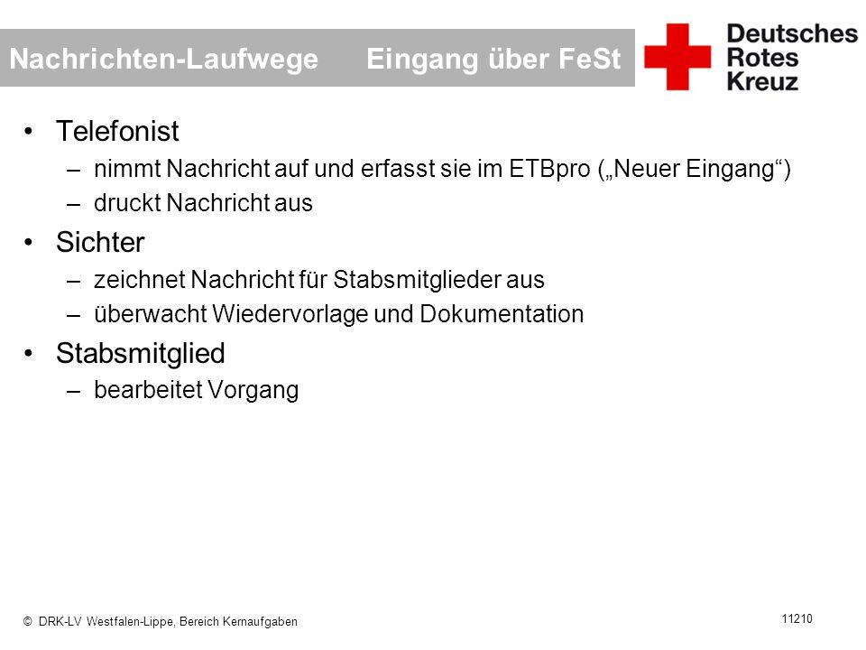 © DRK-LV Westfalen-Lippe, Bereich Kernaufgaben 11210 Nachrichten-Laufwege Eingang über FeSt Telefonist –nimmt Nachricht auf und erfasst sie im ETBpro