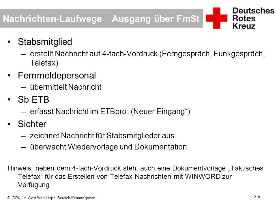 © DRK-LV Westfalen-Lippe, Bereich Kernaufgaben 11210 Nachrichten-Laufwege Ausgang über FmSt Stabsmitglied –erstellt Nachricht auf 4-fach-Vordruck (Fer