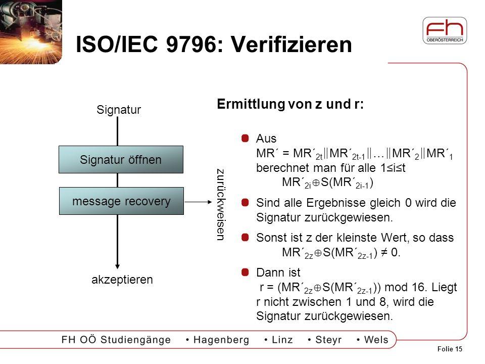 Folie 15 ISO/IEC 9796: Verifizieren Signatur öffnen message recovery Signatur akzeptieren zurückweisen Ermittlung von z und r: Aus MR´ = MR´ 2t MR´ 2t