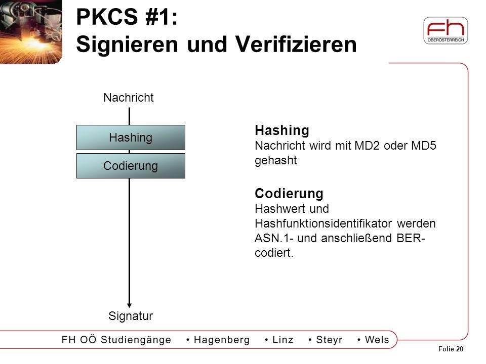 Folie 20 PKCS #1: Signieren und Verifizieren Hashing Nachricht wird mit MD2 oder MD5 gehasht Codierung Hashwert und Hashfunktionsidentifikator werden
