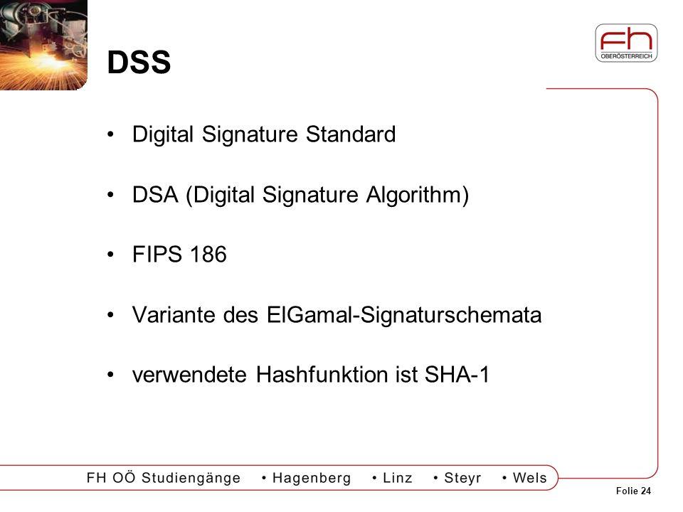Folie 24 DSS Digital Signature Standard DSA (Digital Signature Algorithm) FIPS 186 Variante des ElGamal-Signaturschemata verwendete Hashfunktion ist S