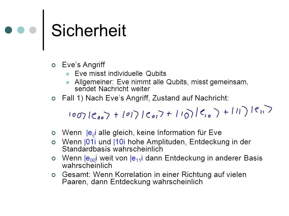 Sicherheit Eves Angriff Eve misst individuelle Qubits Allgemeiner: Eve nimmt alle Qubits, misst gemeinsam, sendet Nachricht weiter Fall 1) Nach Eves A