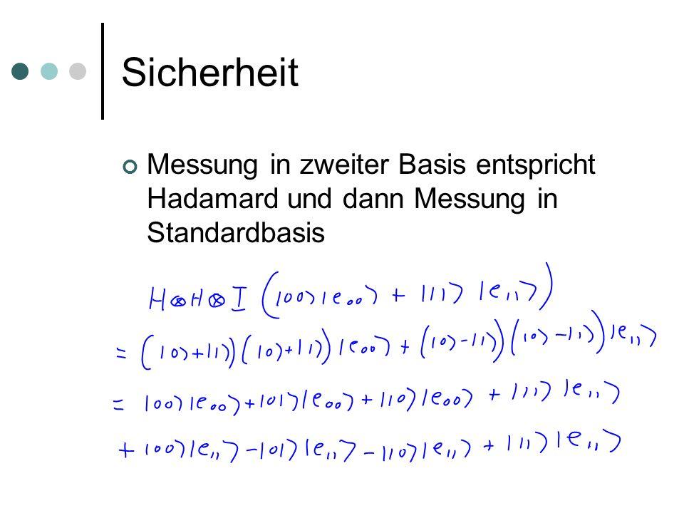 Sicherheit Messung in zweiter Basis entspricht Hadamard und dann Messung in Standardbasis