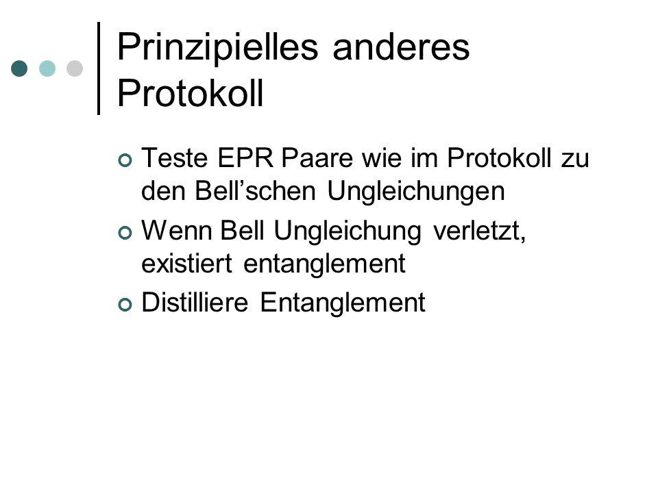 Prinzipielles anderes Protokoll Teste EPR Paare wie im Protokoll zu den Bellschen Ungleichungen Wenn Bell Ungleichung verletzt, existiert entanglement