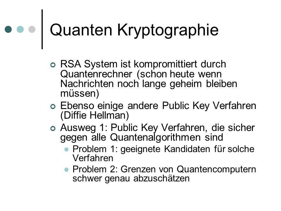 Quanten Kryptographie RSA System ist kompromittiert durch Quantenrechner (schon heute wenn Nachrichten noch lange geheim bleiben müssen) Ebenso einige