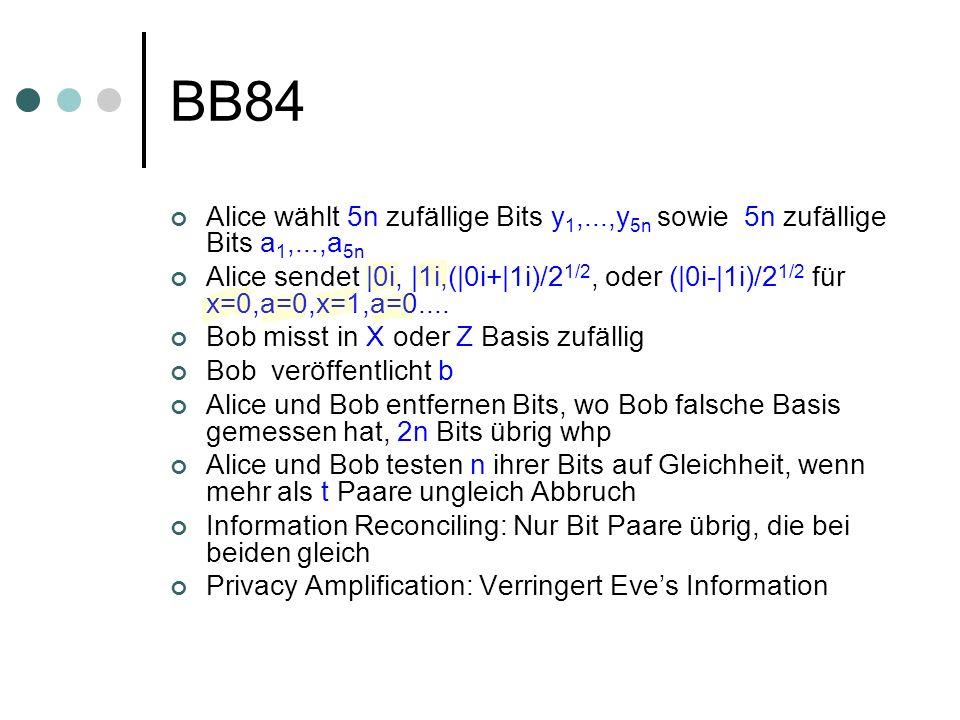 BB84 Alice wählt 5n zufällige Bits y 1,...,y 5n sowie 5n zufällige Bits a 1,...,a 5n Alice sendet |0i, |1i,(|0i+|1i)/2 1/2, oder (|0i-|1i)/2 1/2 für x