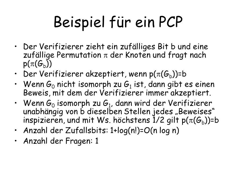 Beispiel für ein PCP Der Verifizierer zieht ein zufälliges Bit b und eine zufällige Permutation der Knoten und fragt nach p( (G b )) Der Verifizierer akzeptiert, wenn p( (G b ))=b Wenn G 0 nicht isomorph zu G 1 ist, dann gibt es einen Beweis, mit dem der Verifizierer immer akzeptiert.