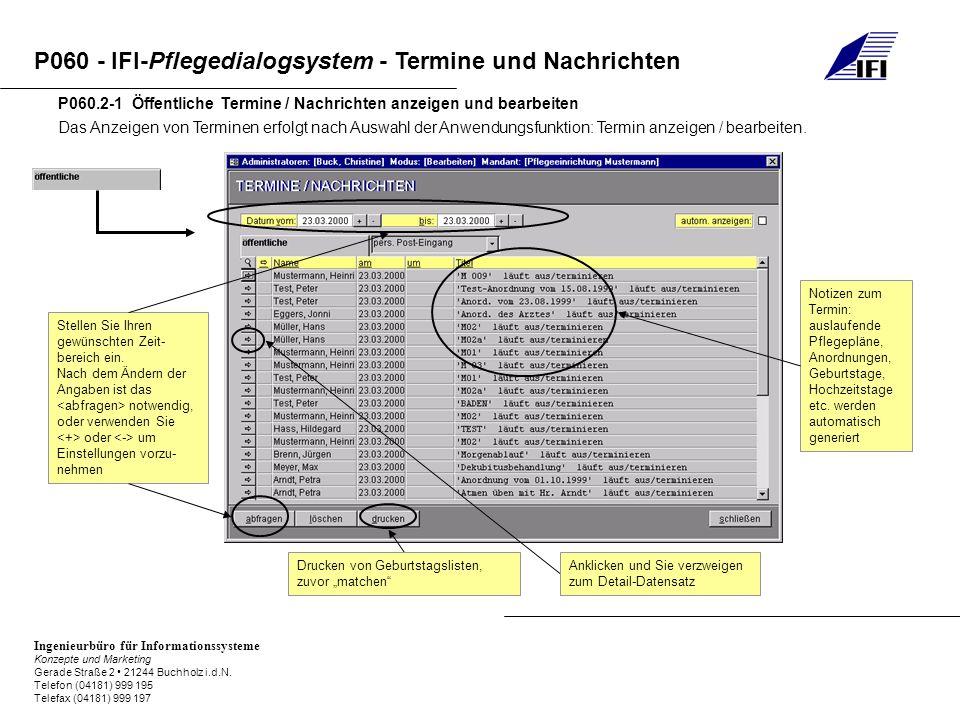 P060 - IFI-Pflegedialogsystem - Termine und Nachrichten Ingenieurbüro für Informationssysteme Konzepte und Marketing Gerade Straße 2 21244 Buchholz i.d.N.