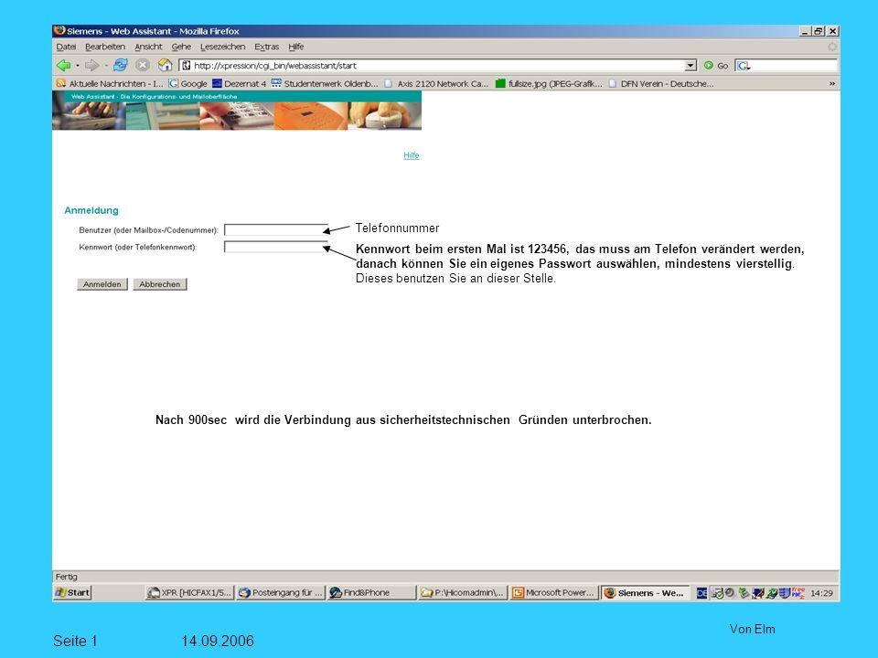 Seite 1 14.09.2006 Von Elm Telefonnummer Kennwort beim ersten Mal ist 123456, das muss am Telefon verändert werden, danach können Sie ein eigenes Passwort auswählen, mindestens vierstellig.