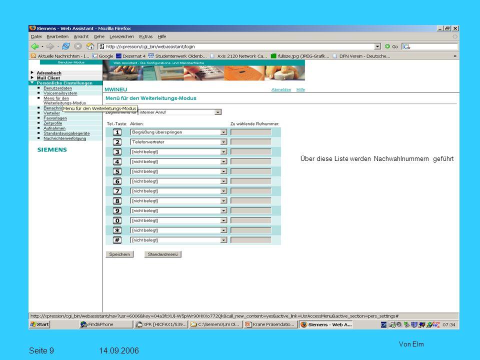 Seite 9 14.09.2006 Von Elm Über diese Liste werden Nachwahlnummern geführt