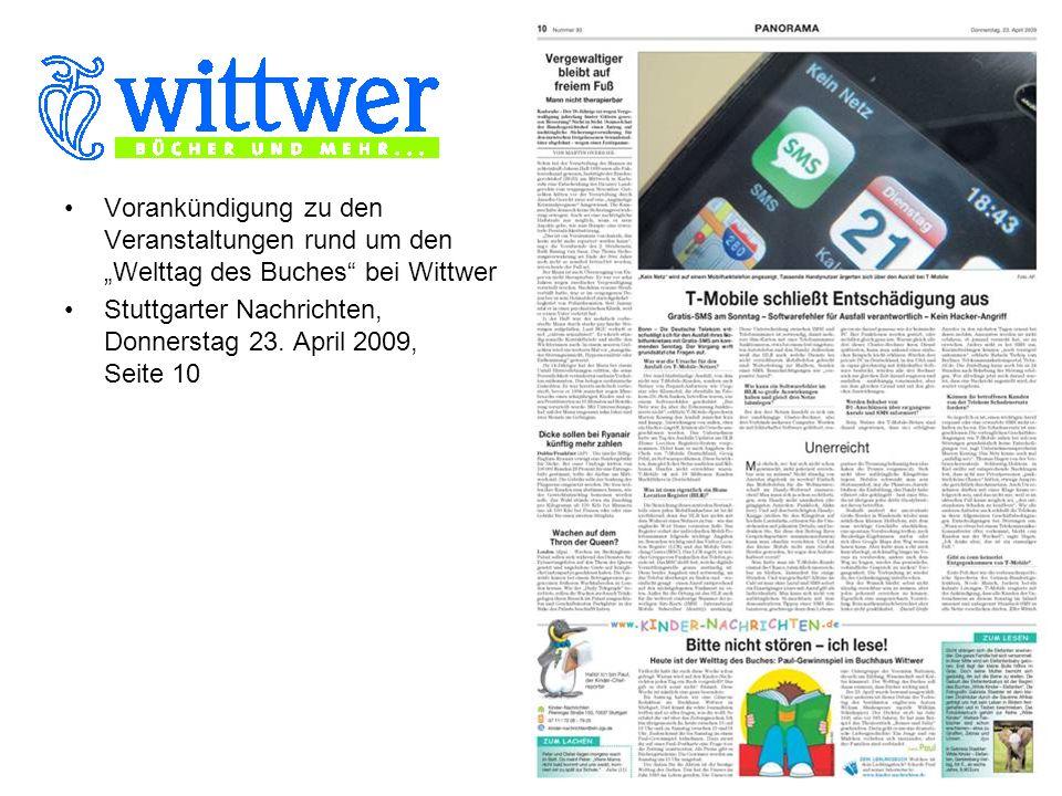 Vorankündigung zu den Veranstaltungen rund um den Welttag des Buches bei Wittwer Stuttgarter Nachrichten, Donnerstag 23.