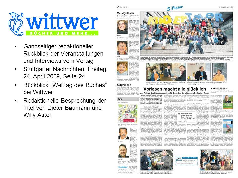 Ganzseitiger redaktioneller Rückblick der Veranstaltungen und Interviews vom Vortag Stuttgarter Nachrichten, Freitag 24.