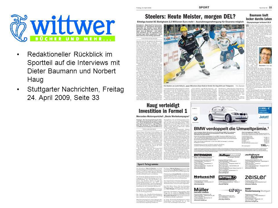 Redaktioneller Rückblick im Sportteil auf die Interviews mit Dieter Baumann und Norbert Haug Stuttgarter Nachrichten, Freitag 24.