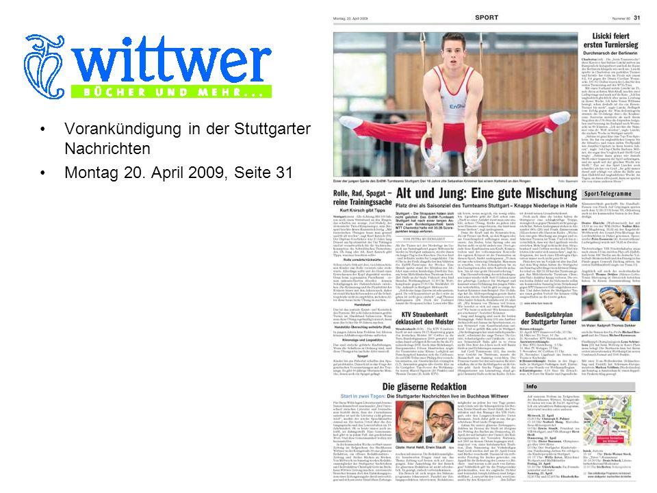 Vorankündigung in der Stuttgarter Nachrichten Montag 20. April 2009, Seite 31