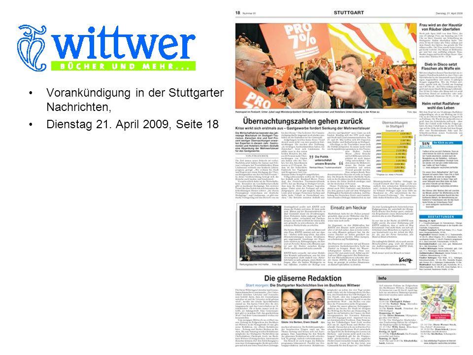 Vorankündigung am ersten Veranstaltungstag auf der Titelseite der Stuttgarter Nachrichten Dienstag 22.